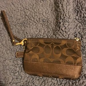 Coach small brown wristlet